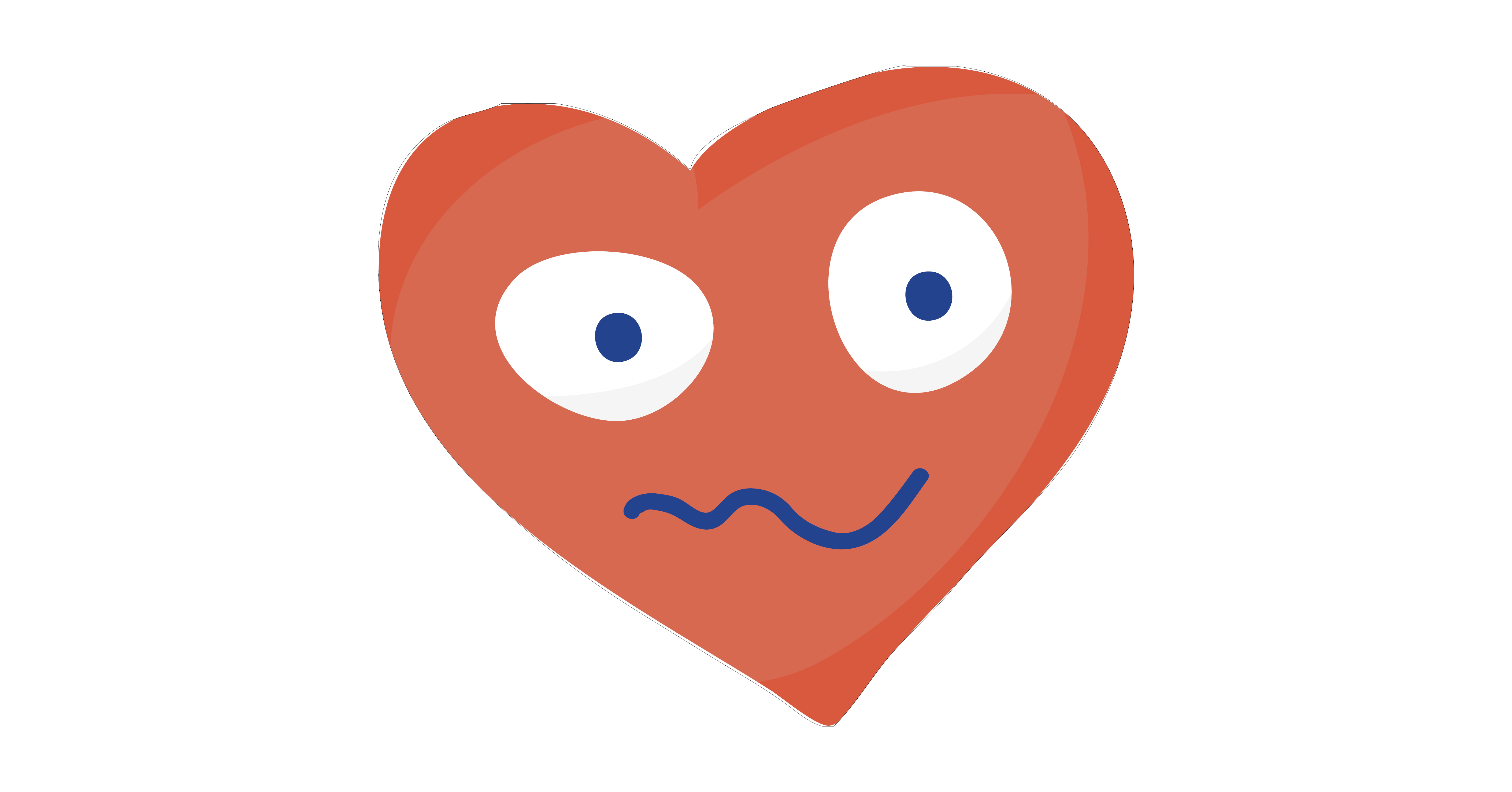 confused or nervous cartoon heart
